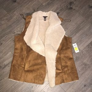 Faux Suede and shearling open vest